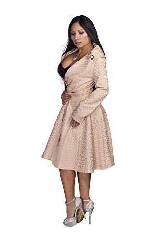 AB Butter Women's Hourglass Shape Classic Double Breasted Coat Peacoat Jacket Trendy Winter Fashion - Pink