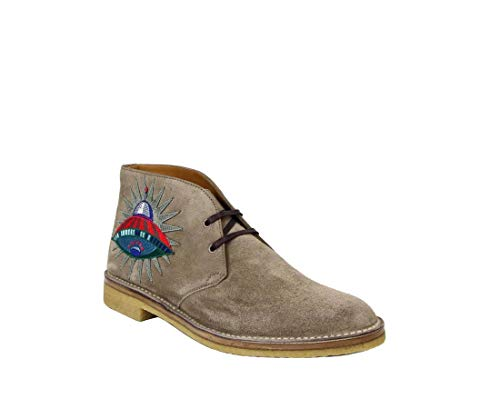 Gucci Beige Suede with Owl and UFO Embroided Ankle Boots 473023 2351 (8 G / 8.5 US) ()