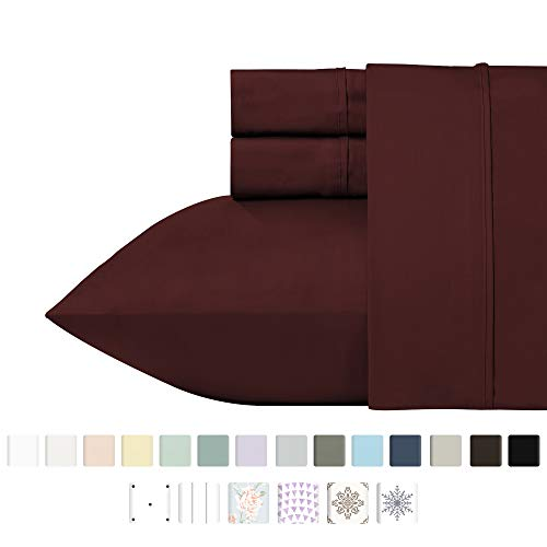California Design Den 400 Thread Count 100% Cotton Sheet Set, Red Wine Full Sheets 4 Piece Set, Long-Staple Combed Pure Natural Cotton Bedsheets, Soft & Silky Sateen ()