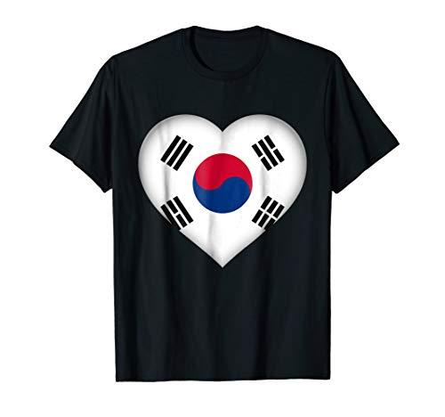 I Love South Korea T-Shirt | South Korean Flag Heart Outfit (Korea Soccer Pride T-shirt)