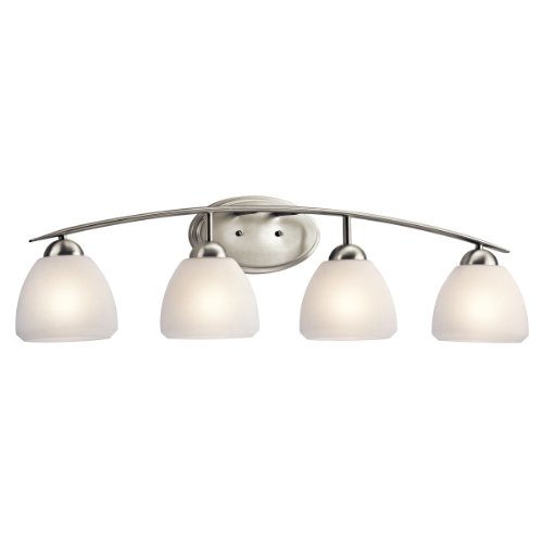 Kichler Lighting 5449NI Ansonia 4-Light Bath Fixture, Brushed Nickel with Satin-Etched Glass 70%OFF