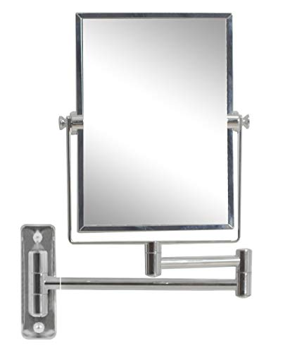 (American Imaginations AI-10-646 Rectangle Wall Mount Magnifying Makeup Mirror with Dual 1x/5x Zoom, 5-Inch x 13-Inch, Chrome)