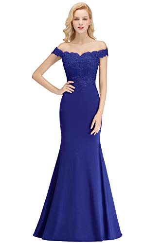 Womens Lace Appliques Mermaid Bridesmaid Dresses Long Formal Gown,Royal Blue,6 (Dress Gown Long)