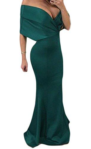 Coolred-femmes Swing Cou V Profond Robes De Soirée Sirène Moulantes Solide Vert