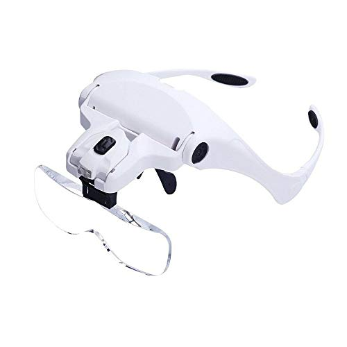 Head Mount Magnifier, Bysameyee Lighted Magnifying Headband Glass Loupe Visor with 2 LED Light for Close Work, Jewelry Work, Watch Repair, Arts & Crafts, Reading Aid (Magnifying Glasses)