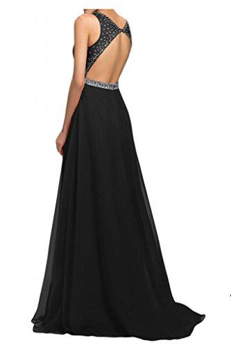 Por la noche la moda de la gasa de la Toscana de novia vestidos de dama de honor Rueckenfrei por la noche vestidos de bola de fiestas de fiesta largo negro