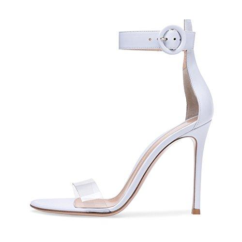 Soirée De Mode Transgenre Haut White Plateforme Fête Grande TLJ Mariage Talon Ronde Sexy 071 Boucle 43 De Club KJJDE Taille Sandales Femme STvq77