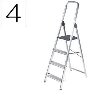 Escalera de aluminio 4 peldaños 860x462x1470 mm peso maximo 150 kg ...