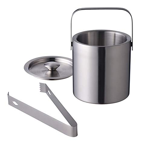 Stainless Steel Ice Bucket by LUCKYGOOBO - Portable Double Wall Ice Bucket with Tong, Barware/Champagne Bucket/Beverage Bucket,Serveware for Party,Event,and Camping, 1.3 Liters 5.5 x 5.5