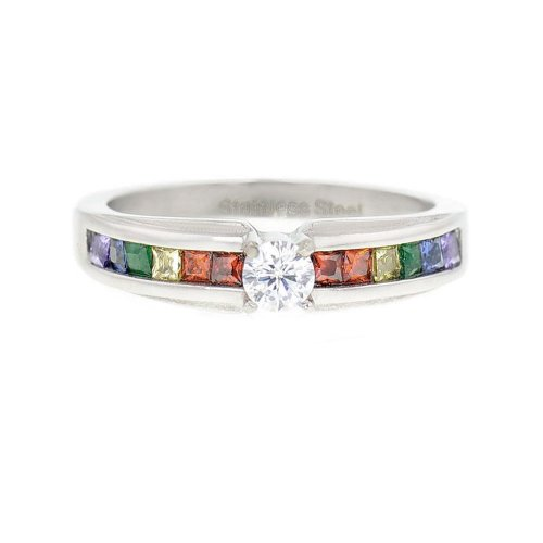FlameReflection Stainless Steel Multi-Color Cubic Zirconia Rainbow Unisex Gay Lesbian Ring Size 6 SPJ