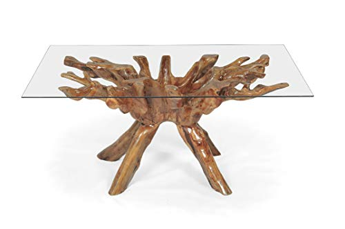 Solid Teak Wood Root Rustic Rectangular Dining Table with Glass Top, 55