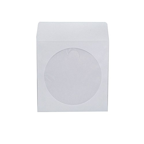 Paper Cd Sleeves (Maxtek 1,000 Pieces White Paper CD DVD Sleeves Envelope Holder with Clear Window and Flap, 80g Economy Weight.)