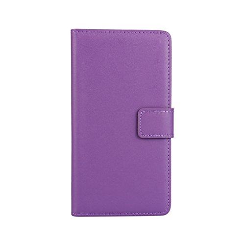 Trumpshop Smartphone Carcasa Funda Protección para Sony Xperia XZs + Negro + Ultra Delgada Cuero Genuino Caja Protector con Función de Soporte Ranuras para Tarjetas Crédito Choque Absorción Púrpura