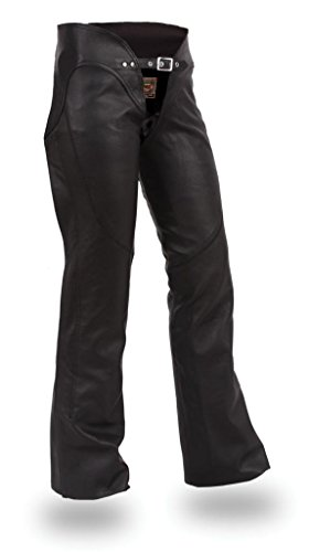 First Manufacturing Women's Double Belted Chaps with Adjustable Thigh Fitting (Black, ()
