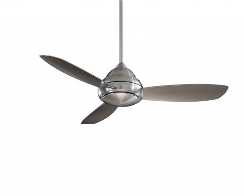 Minka-Aire F517-BN Downrod Mount, 3 Silver / Pewter Blades Ceiling fan with 59 watts light, Brushed - Brushed Pewter Ceiling 52 Fan