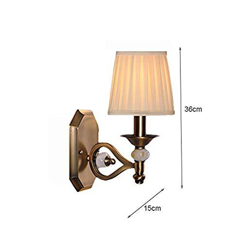 XQY Home Decoration Wall Lamp, Hotel Cafe Restaurant Decoration Lamps,Retro Antique Copper Imitation Jade Wall Lamp Bedroom Bedside Lamp Living Room Wall Lamp, Creative E14 Single Head 15 36Cm BALC ()