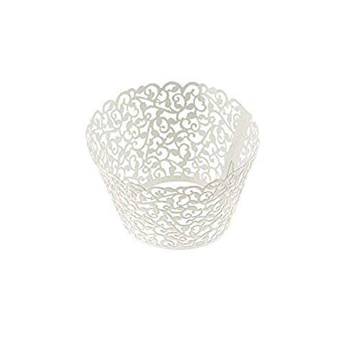 Blovess Yueton Pack of 50 Filigree Vine Cupcake Wrappers Wraps Liner Wedding Party Baby Shower Cake Decoartion(White)