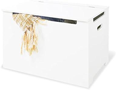 Pinolino - Baúl de madera para juguetes infantil, tapa con amortiguador, capacidad de carga de 30 kg, color blanco lacado: Amazon.es: Bebé