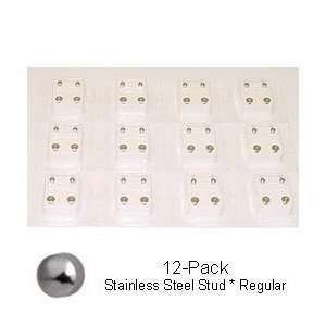 Ear Piercing Earrings Studs (Studex Sterilized Piercing Earrings * Ear Stud * Reg. * S S * Studs * 12 Pair Individually Packaged)