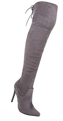 Damen Overknee Stiefel Schuhe High Heels Schwarz Schwarz Grau 36 37 38 39 40 41 Grau