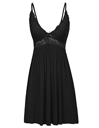 Black Nightie - Women Nightwear Breathable Cotton Full Slip Sling Dress Black Size L ZE57-1