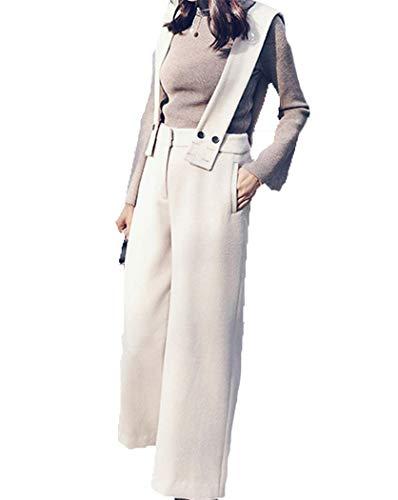 Ancha Mujeres Xyzjia Pierna Moda Del Las Ocasionales Pantalones Babero Blanco De La qOpw8