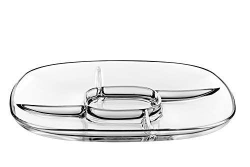 Glass Relish Dish - 5 part Sectional Dish - Square - 12.25
