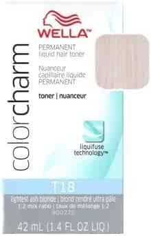 Wella Color Charm Permanent Liquid Hair Toner, Lightest Ash Blonde [T18] - ( 42 ML) 1.40 Oz