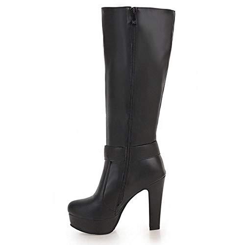 Femmes Mode Bottes Noir À Taoffen Hautes Talon dH1dnq