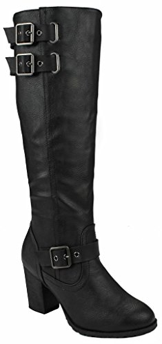 Wedge Women 16 Decorative suede Black High Leatherette Zipper Faux Boots Buckle Gold Chunky Knee Dress Fggp60q