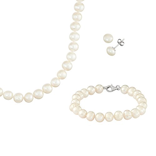 - White Fresh Water Potato Pearl Sterling Silver Necklace, 18