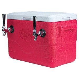 HomeBrewStuff Double Faucet Draft Beer Jockey Box Cooler with Two 50' Stainless Steel Coils