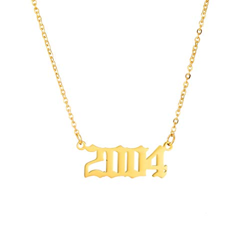 2004 Pendant Jewelry - SKQIR Birth Years Necklace,Initial Year Number Pendant Necklace Gold Plated Birthday Gift Charm Friendship Old English Arabic Mumerals Stainless Steel Necklace Jewelry for Women Girl(Gold,2004)