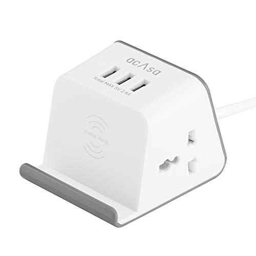 ACASA Flagship Pro Extension Cord with 5W Wireless Charging, 3 USB Ports & 2 Universal Power Sockets with Surge Protector for Home and Office (1.35 Meter Cable, Grey & White) (B084GMGZQS) Amazon Price History, Amazon Price Tracker