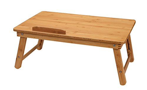 Large Breakfast - Finnhomy Bamboo Extra Large Lap Desk Adjustable Breakfast Serving Bed Tray Tilting Foldable Portable