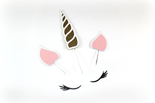 Handmade Unicorn Birthday Cake Topper Decoration - Made in USA with Double Sided Gold Pink Black White Glitter Stock