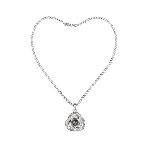 Rhinestones Projection Necklace,Haluoo Dainty Rose Shaped Crystal Pendant Necklace Creative I Love You In 100 Languages Projection Sweater Chain Necklace For Couples Girlfriend Mom (Silver)