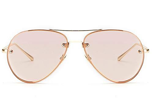 Rose Tinted Lens - Oversized Aviator Sunglasses Vintage Retro Gold