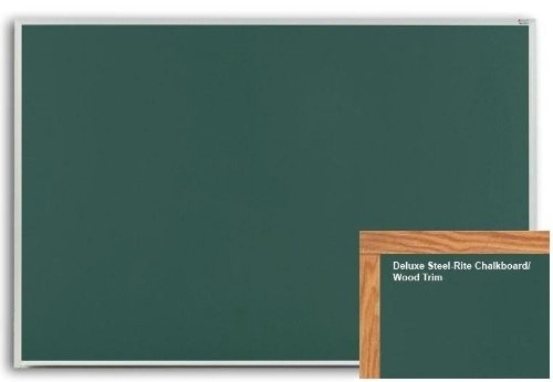 Marsh Pro-Rite 48X60 Green Porcelain Chalkboard, Red Oak Wood (60 Oak Wood Trim)