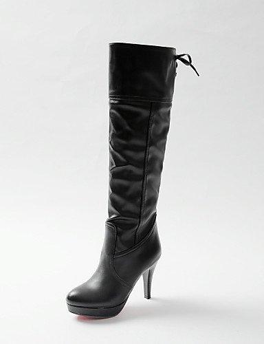 Blanc-us6   eu36   uk4   cn36 XZZ  Chaussures Femme - Habillé   Décontracté - Noir   Blanc - Talon Aiguille - Bout Arrondi   Bottes à la Mode - Bottes - Similicuir