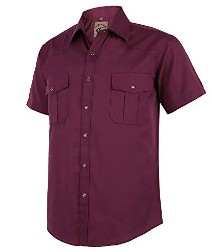 Coevals Club Summer Shirts for Men Short Sleeve Casual Western Solid Press Buttons Shirt (L, Burgundy)