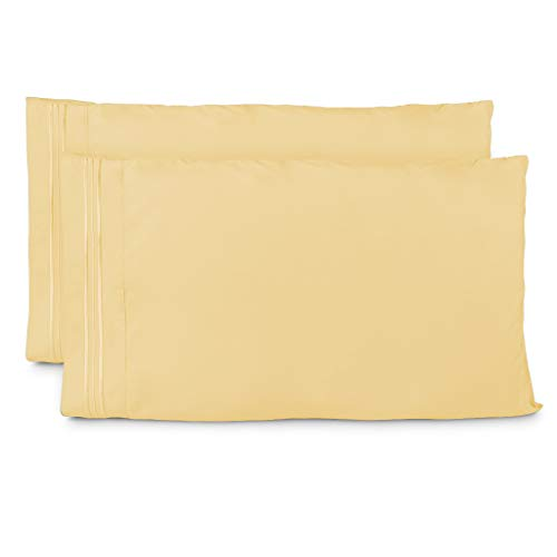 Cosy House Collection Pillowcases Standard Size - Pastel Yellow Luxury Pillow Case Set of 2 - Fits Queen Size Pillows - Premium Super Soft Hotel Quality - Cool & Wrinkle Free - Hypoallergenic ()