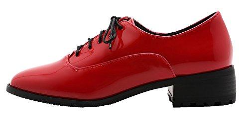 AllhqFashion Damen Lackleder Schnüren Quadratisch Zehe Cartoon Pattern Pumps Schuhe Rot