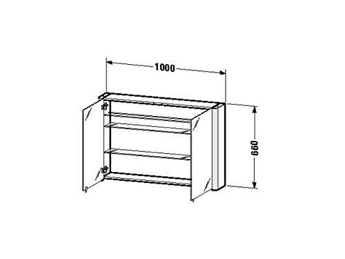 Duravit SPS 'Licht & Spiegel' 186x100x660mm 2 Spiegeltüren,2 Relinge,weiss aluminium, LM977203737