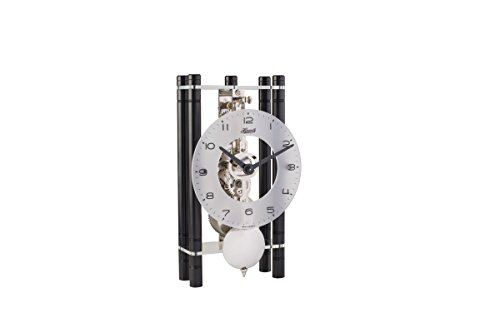 Mikal Rectangular Table Clock - Black with an Arabic Glass Dial & Silver Pendulum - Hermle 23021740721