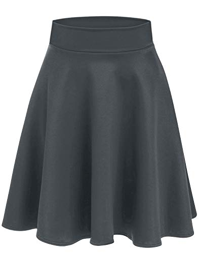 Women's Midi Skater Skirt Flared Stretch Skirt for Women Reg & Plus Size - Made in USA (Size XXX-Large, Charcoal)