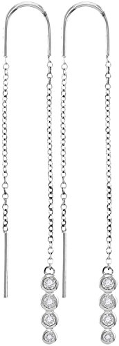 - 10kt White Gold Womens Round Bezel-set Diamond Dangle Threader Earrings 1/12 Cttw