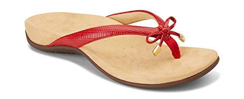 Vionic Women's Rest Bella II Toepost Sandal - Ladies Flip Flop with Concealed Orthotic Arch Support Red Lizard 9 N US ()