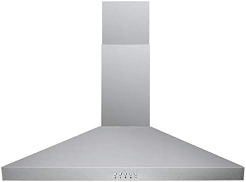 DKB 30 Range Hood Wall Mounted in Brushed Stainless Steel – With 400 CFM, 3 Speed Fan Push Button Control Panel LED lights