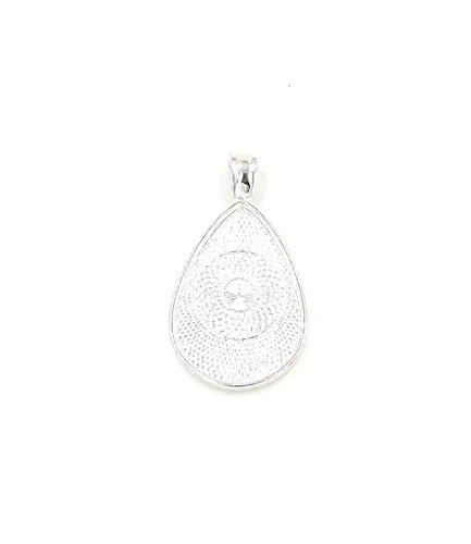 20 Teardrop oval Pendant Trays -Silver Color - 20X30mm - Pendant Blanks Cameo Bezel Settings Photo Jewelry - Deannassupplyshop ()